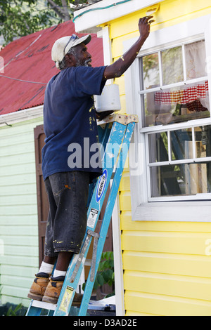 Painter, Christiansted, St. Croix, US Virgin Islands, Caribbean - Stock Photo