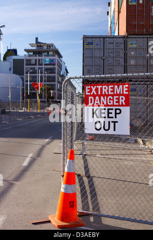 Christchurch New Zealand earthquake aftermath - Stock Photo