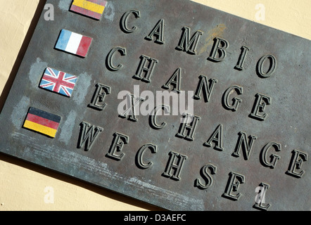 Sign on bureau de change in Tenerife, Canary Islands - Stock Photo