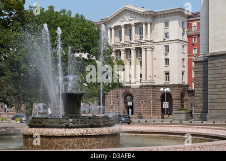 View from center of Sofia city, capital of Bulgaria with the minister council building - Stock Photo