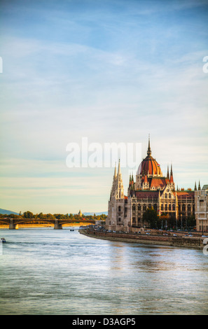 Hungarian Parliament building in Budapest at sunrise - Stock Photo