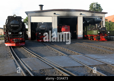 Wernigerode, Germany, steam locomotives of the Harz Narrow Gauge Railways Ltd. - Stock Photo