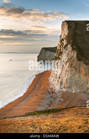 A view of Swyre Head and Bat's Head on the Jurassic Coast in Dorset UK photographed just before sunset in January