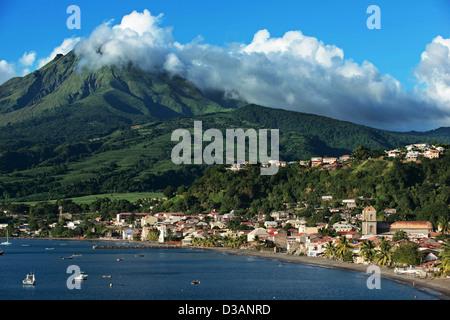 View of the city of Saint-Pierre and Mount Pelé / vue de la ville de Saint-Pierre et Mont Pelé Martinique Island, - Stock Photo
