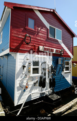 fishermans wharf victoria vancouver island canada houseboat moor float home house boat colorful colourful - Stock Photo