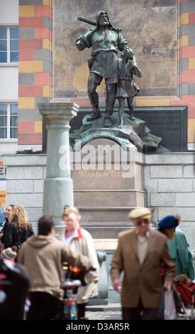Altdorf, Switzerland, passers monument in front of William Tell - Stock Photo