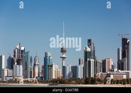 view of skyscrapers, Kuwait city, Kuwait - Stock Photo