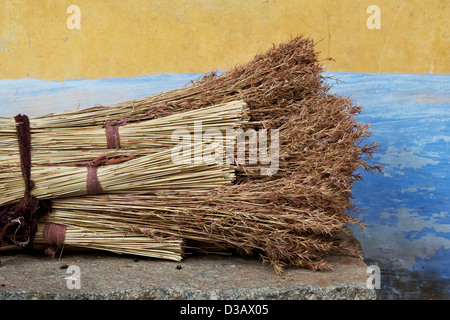 Indian Grass reed brushes. Traditional indian sweeping brush made for selling in a rural indian village. Andhra - Stock Photo