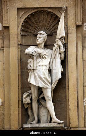 Statue of Michele Di Lando standing in Loggia del Mercato Nuovo in Florence Italy - Stock Photo