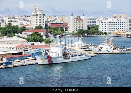 San Juan Bay, Puerto Rico, US Coast Guard station and patrol boats stand ready to assist - Stock Photo