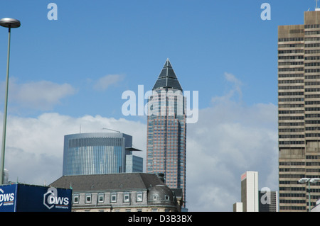 Frankfurt Messeturm and office buildings - Stock Photo