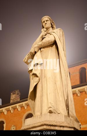 Verona - Dante Allighieri statue from Piazza dei Signori - Stock Photo