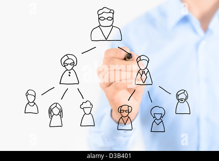 Businessman drawing multi level marketing scheme. Isolated on white. - Stock Photo