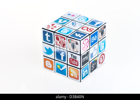 A rubik's cube with logotypes of well-known social media brand's. - Stock Photo