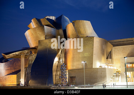 The Guggenheim Museum at night, Bilbao, Biscay, Spain, Basque country. - Stock Photo