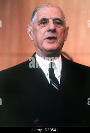 (dpa files) - French President Charles de Gaulle, pictured in Cologne during his state visit to Germany in September - Stock Photo