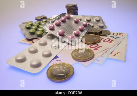 (dpa) - A symbolic photo shows a variety of pills and Euro cash, pictured in Hamburg, 4 December 2002. - Stock Photo