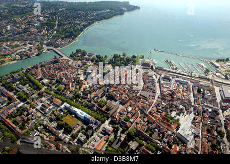 (dpa) - The aerial picture dated 03 July 2005 shows Konstanz at Lake Constance, Germany. - Stock Photo
