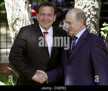 (dpa) - Russian President Vladimir Putin (R) shakes hands with German Chancellor Gerhard Schroeder in Svetlogorsk - Stock Photo