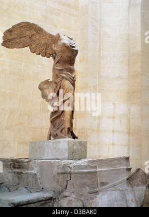 Greek art. Winged Victory of Samothrace or Nike of Samothrace. 2nd century BC. Marble. Museum of Louvre. Paris. - Stock Photo