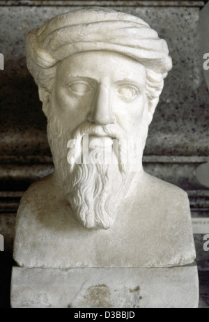 Pythagoras of Samos (570 BC-495 BC). Greek philosopher and mathematician. Bust. Roman copy. Capitoline Museums. - Stock Photo