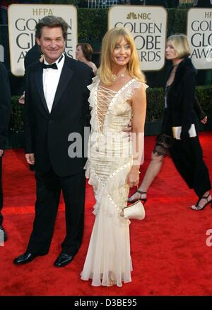 (dpa) - Hollywood couple Goldie Hawn and Kurt Russel arrive at the 60th Golden Globe Awards in Beverly Hills, 19 - Stock Photo