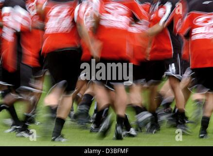 (dpa) - The players of the German soccer club 1st FC Cologne exercise on the pitch during a trainings session in - Stock Photo