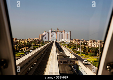 The 'Atlantis Palm' hotel as viewed from the approaching monorail transport system in Dubai UAE - Stock Photo