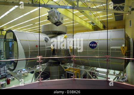 (dpa) - A life-size model of the space laboratory 'Columbus' for the international space station ISS is on display - Stock Photo