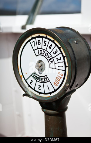 Old-fashioned ship's throttle on ship - Stock Photo
