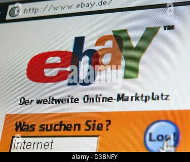 (dpa) - The logo of the online auction service 'ebay Deutschland' appears on a computer screen in Dortmund, Germany, - Stock Photo
