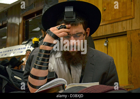 Religious Jewish man praying wearing Tefillin, phylacteries, at Lubavitch headquarters in Brooklyn, New York - Stock Photo