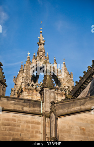 Detail of the Crown Spire (1495, repaired/rebuilt 1648) of the High Kirk of Edinburgh (St Giles Cathedral), Edinburgh, - Stock Photo