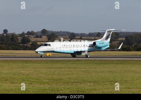 Embraer ERJ-135BJ Legacy 600 taking off - Stock Photo
