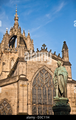 West facade of St Giles' Cathdral, Edinburgh. The statue is of Walter Francis Montagu Douglas Scott, 5th Duke of - Stock Photo