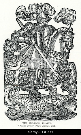 Vintage engraving of Saint George slaying the Dragon, 1598. From The Faerie Queene. - Stock Photo