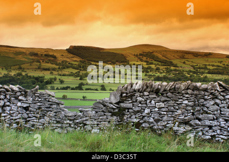 Dry stone wall in field around Castleton in the Hope valley - Stock Photo