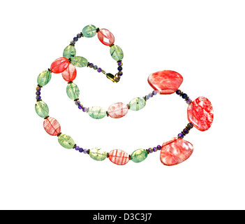 A hand crafted necklace of colorful stones. - Stock Photo