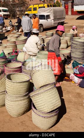 Madagascar, Ambositra, Marche Sandrandahy market, hand woven basket stall - Stock Photo
