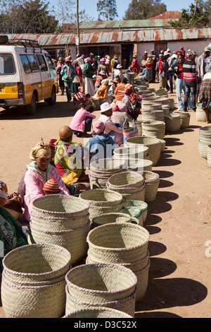 Madagascar, Ambositra, Marche Sandrandahy market, line of hand woven basket stalls - Stock Photo