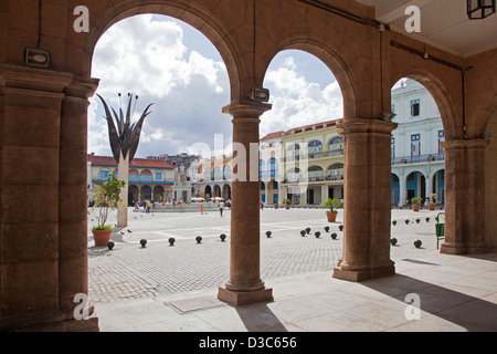 Colonial buildings along the Old Square / Plaza Vieja in Old Havana / La Habana Vieja, Cuba, Caribbean - Stock Photo