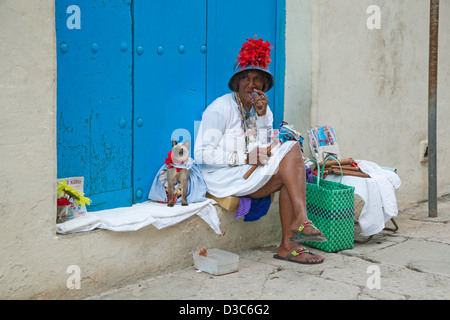 Licensed street model posing for tourists as colourful Cuban woman smoking huge Havana cigar and dressed cat in - Stock Photo