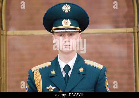 A young army sentry in Alexander Gardens Moscow Russia - Stock Photo