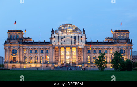 Berlin, Germany, the Reichstag and the Republic Square at dusk - Stock Photo