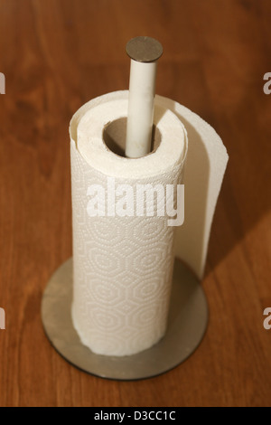 Paper kitchen towels roll on holder - Stock Photo