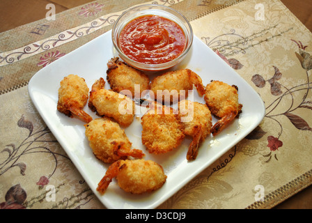 Cocktail Sauce with Breaded Shrimp - Stock Photo