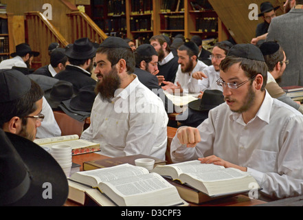 Hasidic students studying Talmud at a school in a synagogue at 770 Eastern Parkway in Brooklyn, New York. - Stock Photo