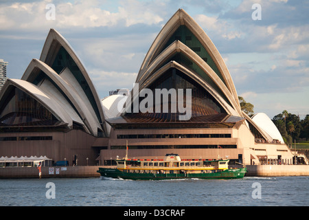 Sydney Harbour Manly Ferry 'Lady Northcott' passing in front of the  Sydney Opera House Sydney Australia - Stock Photo