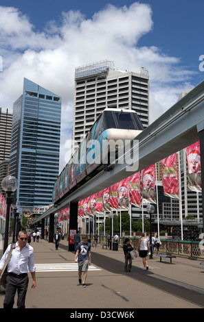 Sydney, Australia, Sydney Monorail in the district of Darling Harbour - Stock Photo