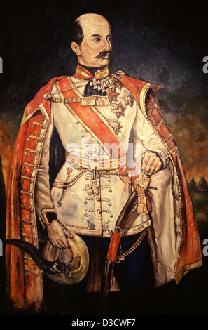 Oil painting of Count Josip Jelacic von Buzim who was a noted army general, remembered for his military campaigns - Stock Photo